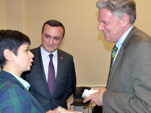 Nagorno Karabakh Youth and Culture Minister Narine Aghabalyan speaking with Congressional Armenian Caucus CoChair Frank Pallone (D-N.J.) and NKR Representative in the U.S. Robert Avetisyan.