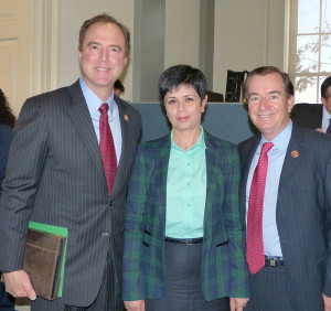 Senior Appropriations Committee member Adam Schiff (left), with Nagorno Karabakh Youth and Culture Minister Narine Aghabalyan (center), and House Foreign Affairs Committee Chairman, Ed Royce (right) at the March 13th Capitol Hill celebration of twenty-five years of freedom for Nagorno Karabakh.