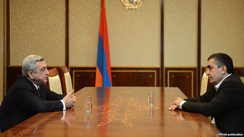 President Serj Sargsyan and ARF-D Parliamentary Faction Leader, Armen Rustamyan (photo azatutyun.am 19/04/2013)