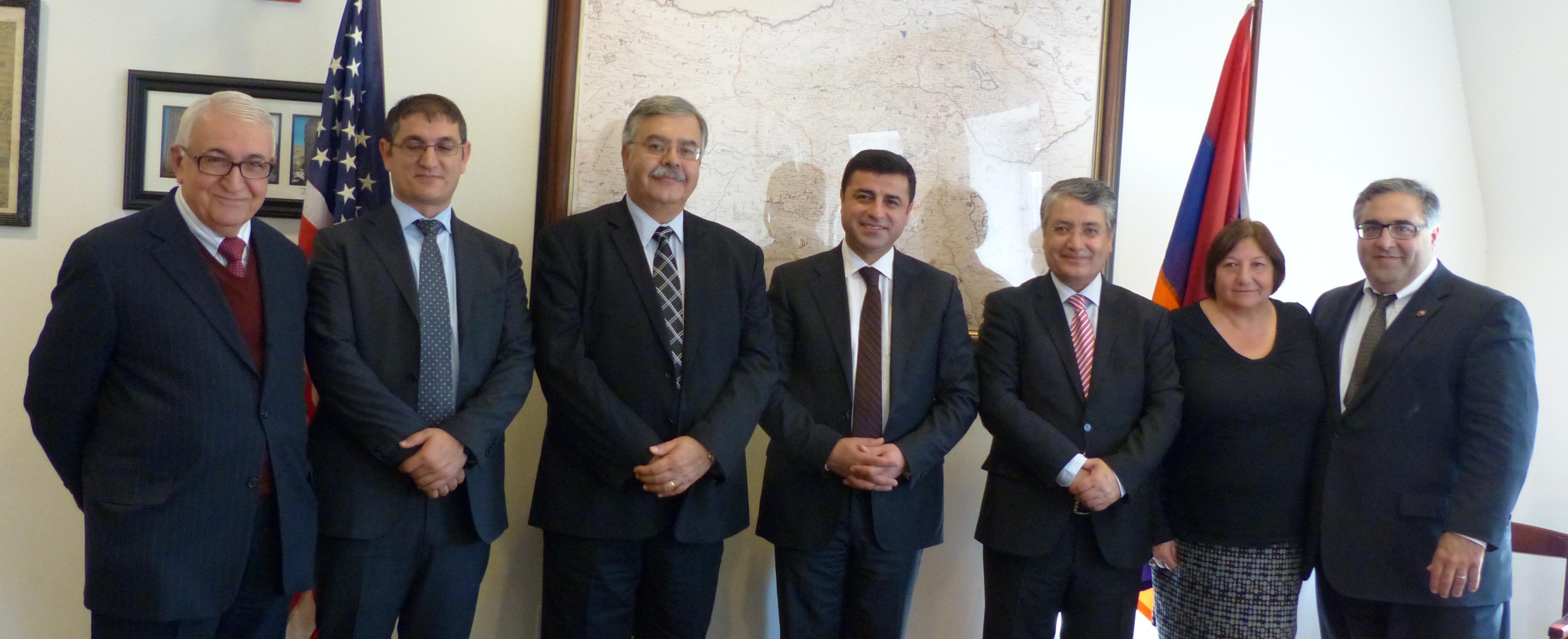 (L-R) Garo Armenian, Mehmet Yüksel, Hagop Der Khachadourian, Selahattin Demirtaş, Nazmi Gür, Ani Haroyian, Aram Hamparian