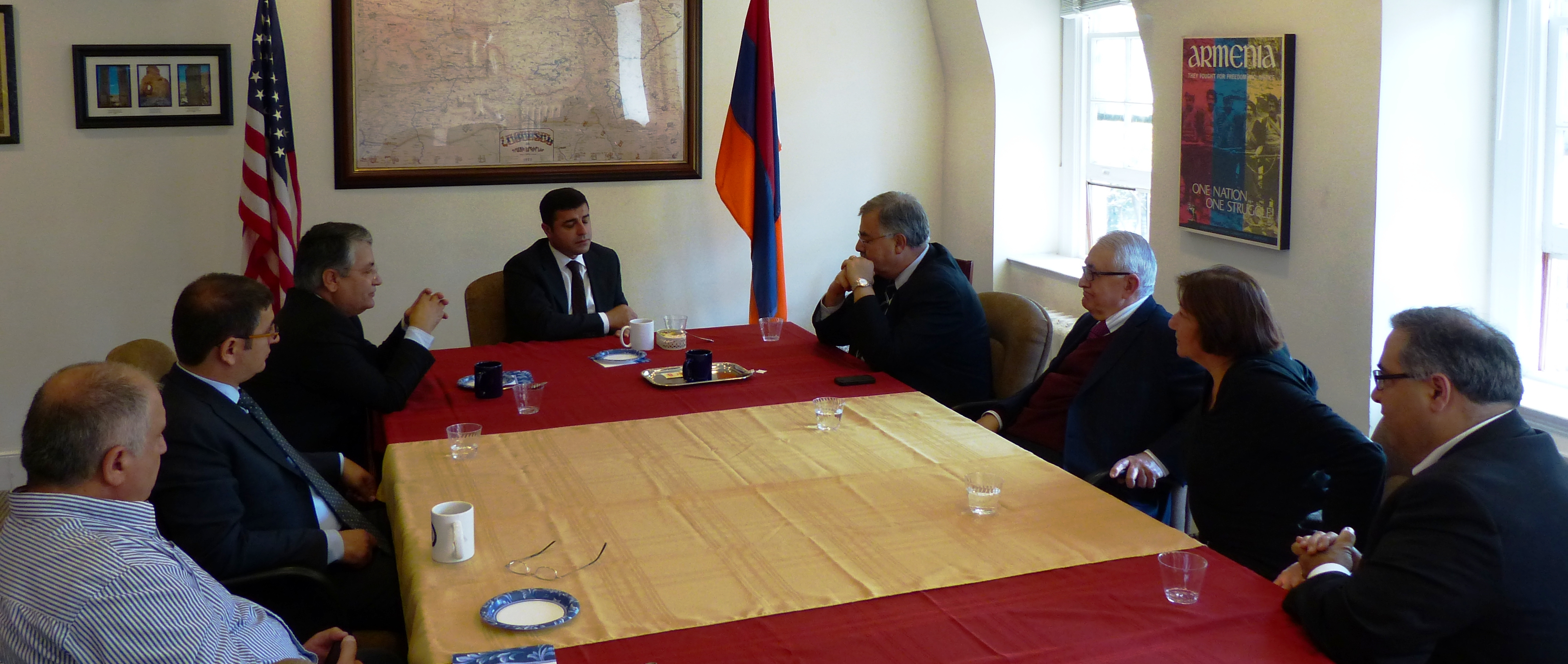 Kurdish and Armenian delegations at the ANCA office in Washington