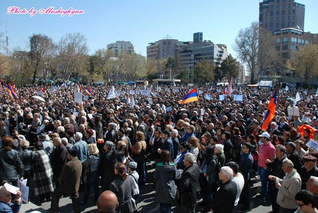 Armenians rallying in Yerevan, on March 22. Photo by Armen Musheghyan