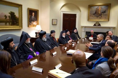 US President Barack Obama meets with spiritual leaders of the Middle Eastern Maronite, Armenian, Syrian Orthodox, Greek Catholic and Syrian Catholic churches.  Photo Credit: White House