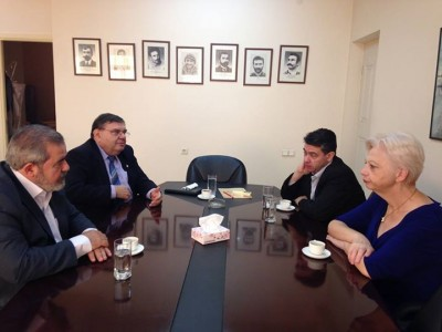 (L-R clockwise) Hrant Margaryan, Kaspar Karampetian, Ioannis Charalampidis, Eleni Theocharous