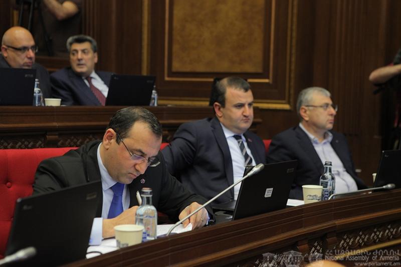 (L-R) ARF-D MPs Artsvik Minasyan, Armen Babayan, Mikael Manukyan