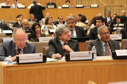 Armenia (ARF-D) delegation at Socialist International: Mario Nalpantian (front row center); Back row (L-R): Nanore Barsoumian, Giro Manoyan, Aram Hovagimian