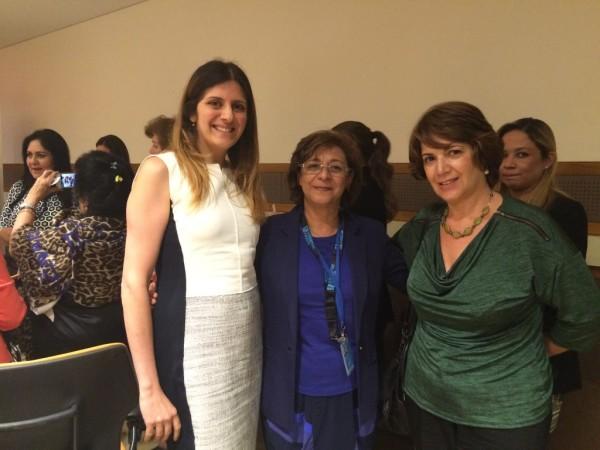 (L-R) Karine Shnorhokian, SIW President Ouafa Hajji, Sandra Vartanian