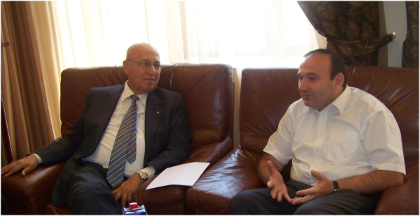 June 2011, Dr. Nabeel A. Shaath, the Commissioner of International Relations of Fateh Movement and the Palestinian Former Minister for Foreign Affairs meeting ARF-Dashnaktsutyun Bureau member and former Minister of Education Mr. Levon Mkrtchyan, in Yerevan.