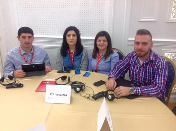 The AYF delegation: (L-R) Hayk Igityan (Armenia), Arpine Martirosyan (Sweden), Sarineh Abrahamian (Netherlands), and Garabed Chadoian (Austria)